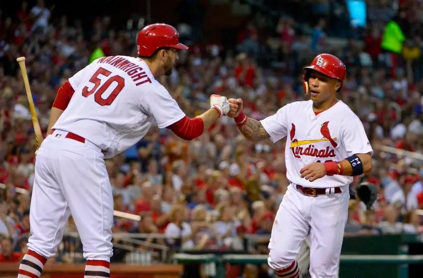 Kolten Wong, Adam Wainwright, St. Louis Cardinals. (Mandatory Credit: Jeff Curry-USA TODAY Sports)