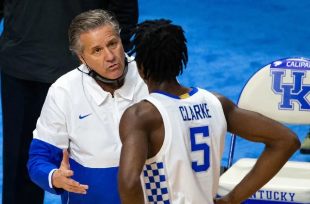 Nov 29, 2020; Lexington, Kentucky, USA; Kentucky Wildcats head coach John Calipari talks with guard Terrence Clarke (5) in the second half against the Richmond Spiders at Rupp Arena at Central Bank Center. Mandatory Credit: Jordan Prather-USA TODAY Sports