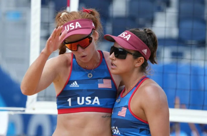 Beach volleyball players Kelly Claes and Sarah Sponcil at the 2021 Olympics. (Jack Gruber-USA TODAY Sports)