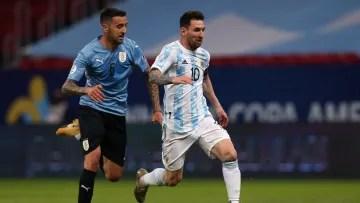 Messi against Uruugay