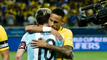 Brazil v Argentina - FIFA 2018 World Cup Qualifiers - Messi and Neymar, the two figures of the competition.