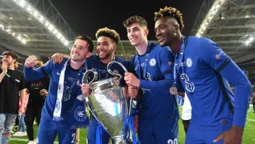 Chelsea players celebrating the Champions League title