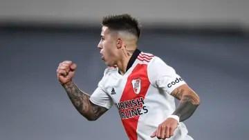 River Plate v Velez Sarsfield - Professional League Tournament 2021 - Enzo Fernández celebrates his goal.