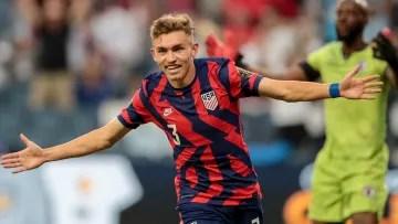 United States player celebrates a goal.