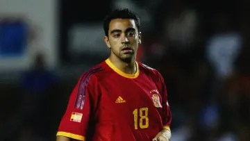 Xavi playing for Spain in the early days of his career