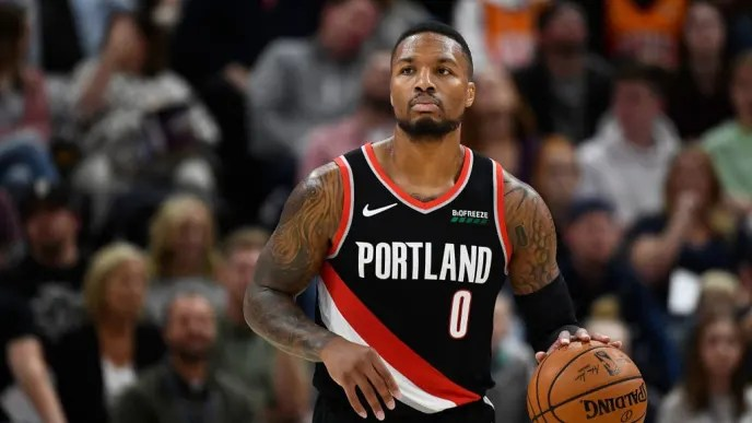 SALT LAKE CITY, UT - OCTOBER 16: Damian Lillard #0 of the Portland Trail Blazers looks on during a preseason game against the Utah Jazz at Vivint Smart Home Arena on October 16, 2019 in Salt Lake City, Utah. NOTE TO USER: User expressly acknowledges and agrees that, by downloading and or using this photograph, User is consenting to the terms and conditions of the Getty Images License Agreement. (Photo by Alex Goodlett/Getty Images)