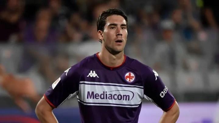 Dusan Vlahovic of ACF Fiorentina reacts during the 58c4482e904617a1fe307e9672612a1a