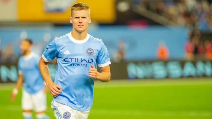 Keaton Parks celebrates a goal with NYCFC