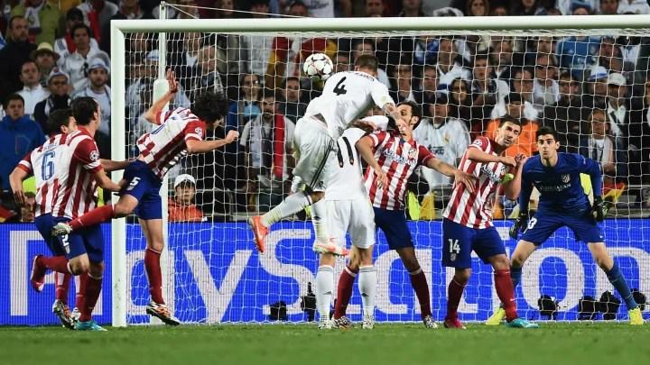 Sergio Ramos' historic goal against Atlético de Madrid in the 2014 Champions League final