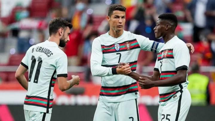 Bruno Fernandes, Cristiano Ronaldo, Nuno Mendes