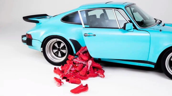 The boots are inspired by the Porsche 911