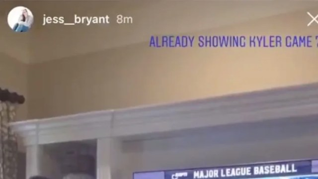 Kris Bryant's wife shared an image of the Chicago Cubs star showing his son Game 7 of the 2016 World Series.