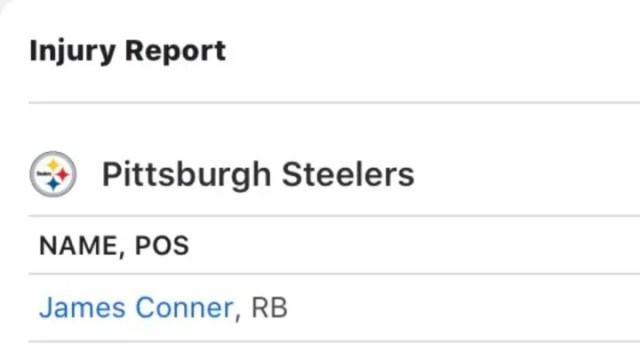 The ESPN App already has Steelers running back James Conner listed as questionable.