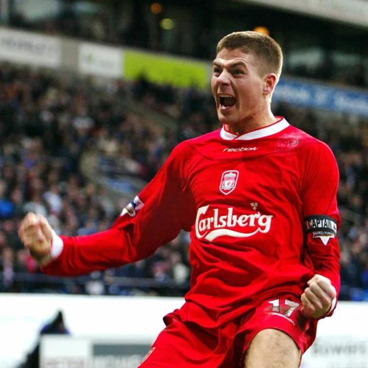 Liverpool' Steven Gerrard celebrates aft