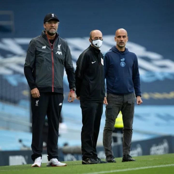 Jürgen Klopp, Mike Dean - Árbitro, Josep Guardiola