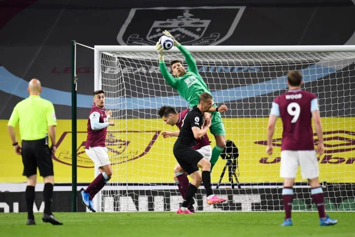 Nick Pope claims a cross for Burnley