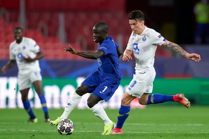Chelsea's N'Golo Kante on the turn against FC Porto in the quarter-finals