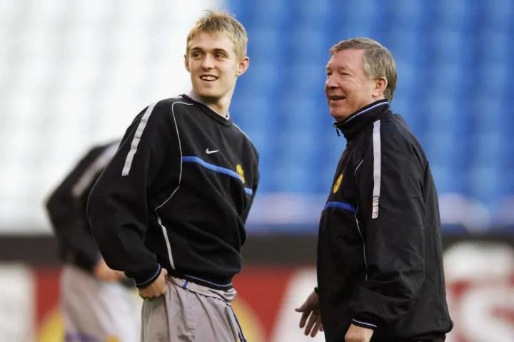 Manchester United manager Sir Alex Ferguson with Manchester United's Darren Fletcher