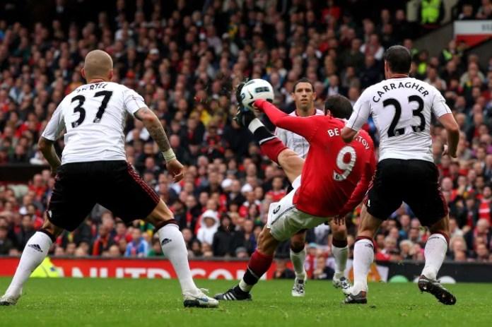 Berbatov scored a hat-trick against Liverpool