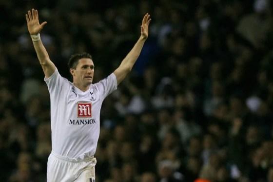 Robbie Keane of Tottenham celebrates