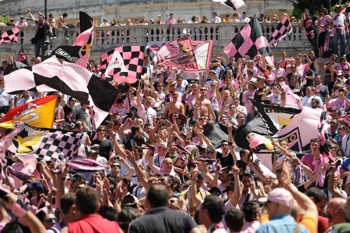 US Citta di Palermo Fans Gather In Piazza di Spagna