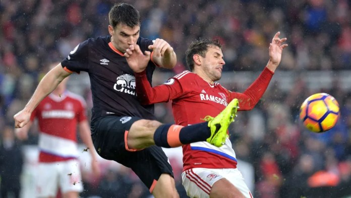 MIDDLESBROUGH, ENGLAND - FEBRUARY 11: Cristhian Stuani of Middlesbrough and Seamus Coleman of Everton compete for the ball during the Premier League match between Middlesbrough and Everton at Riverside Stadium on February 11, 2017 in Middlesbrough, England. (Photo by Mark Runnacles/Getty Images)