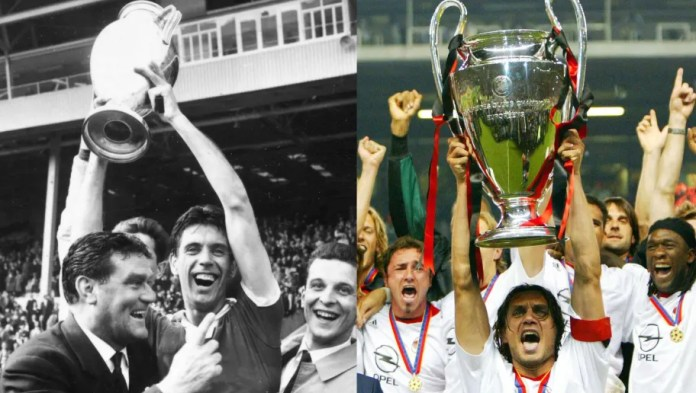 (FILE PHOTO) In this composite image a comparison has been made between images (L-R) 52915825 and 52915825 of Father (L) and Son (R). **LEFT IMAGE*** 21st May 1963: Cesare Maldini, the Milan captain holds up the winner's trophy after his team's 2-1 win against Portugal in the European Cup Final at Wembley. (Photo by Evening Standard/Getty Images) ***RIGHT IMAGE*** MANCHESTER, UNITED KINGDOM - MAY 28: Champions League 02/03 Final, Manchester, 28.05.03, AC Mila v Juventus Turin. Paolo Maldini lifts the trophy (Photo by Andreas Rentz/Bongarts/Getty Images)