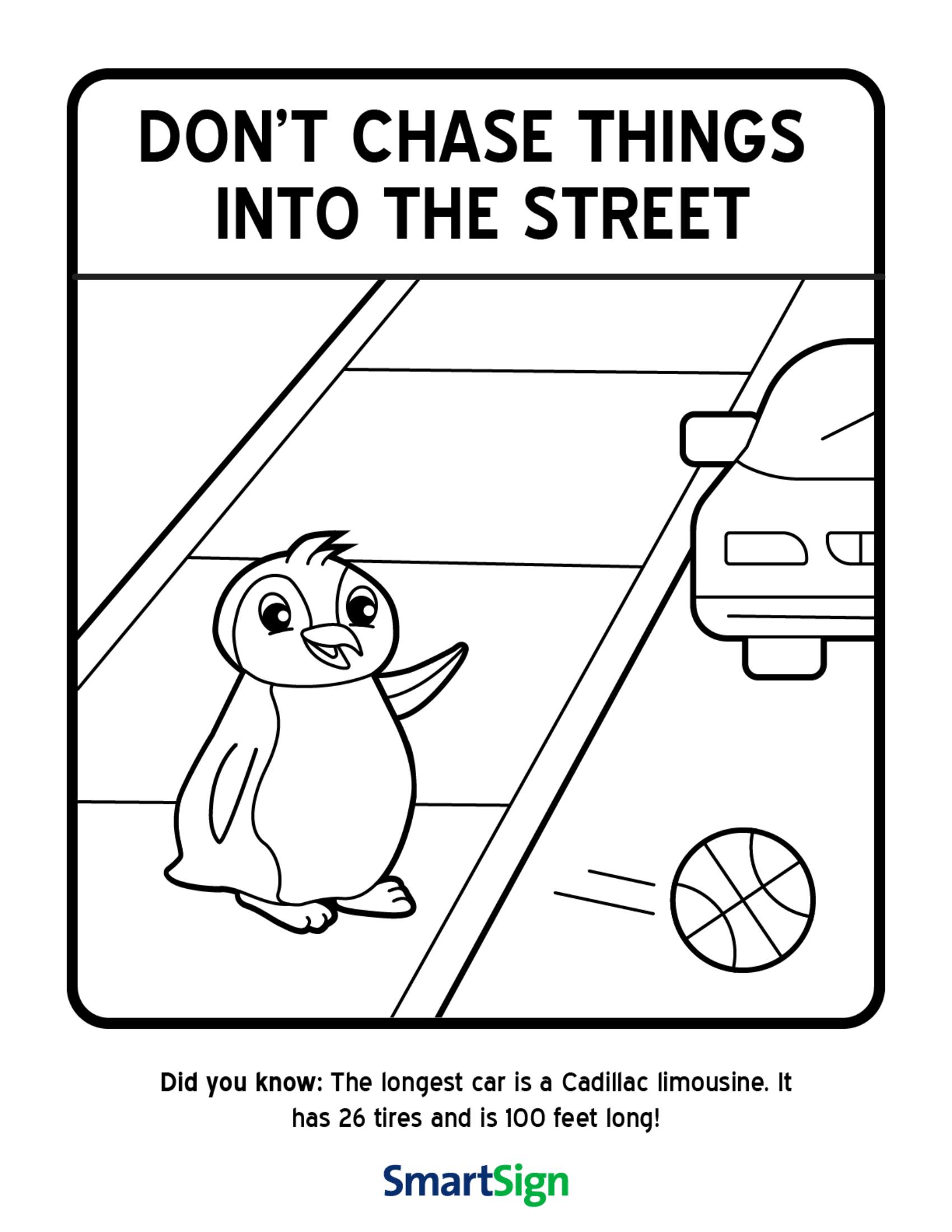 Pedestrian Safety Preschool Worksheet