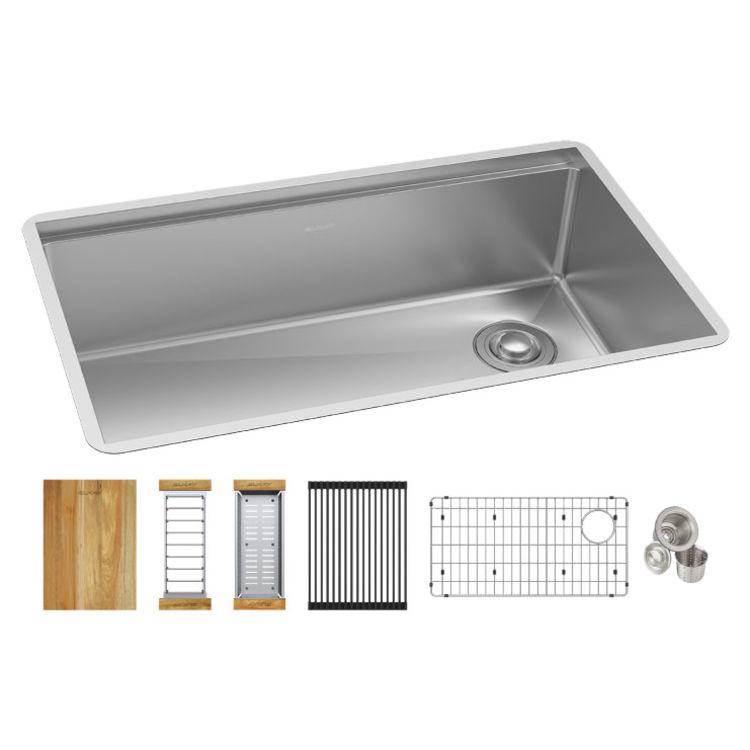 elkay efru30169rtwc crosstown 16 gauge workstation stainless steel single bowl undermount sink kit 31 1 2 x 18 1 2 x 9 polished satin