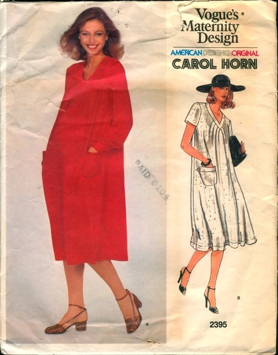 1980s maternity dress pattern by Carol Horn - Vogue 2395