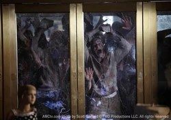 Zombies attack door