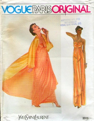Vogue 2313 by Yves Saint Laurent (1979). Evening dress and coat