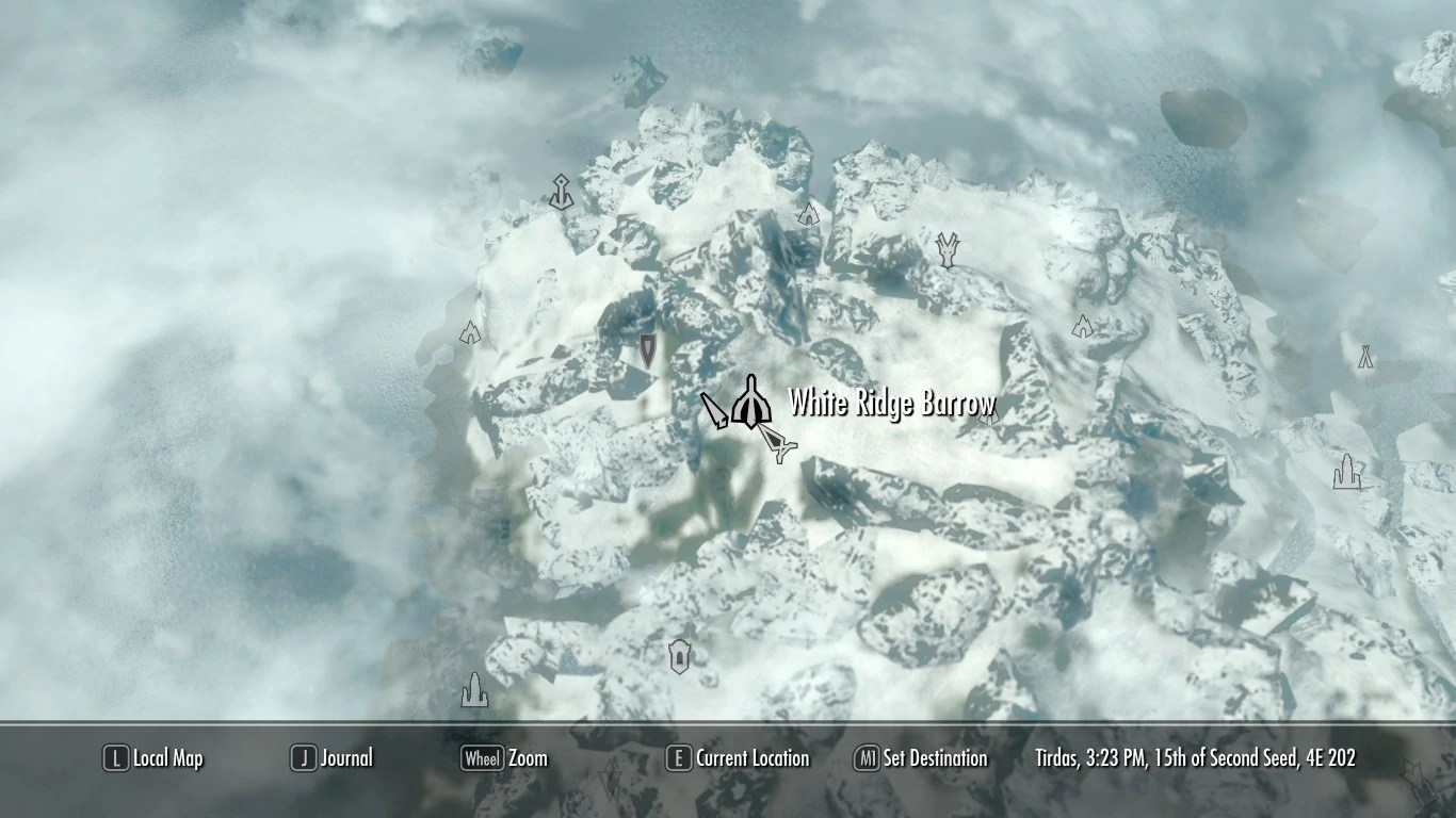 Bloodskal Skyrim Barrow Location Map