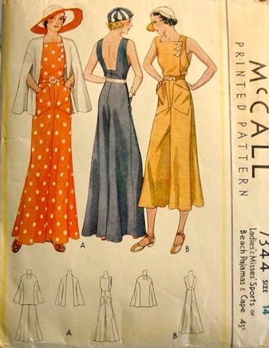 McCall 7344 (1933) Sports or beach pajamas and cape
