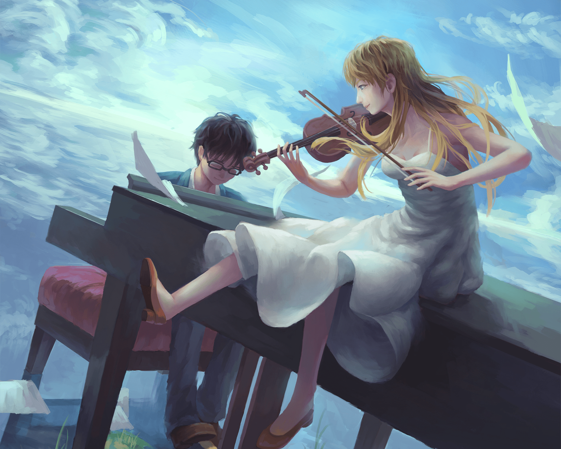 I'm signing in just to say how absolutely gorgeous this wallpaper is. Your Lie In April HD Wallpaper | Background Image | 1920x1536