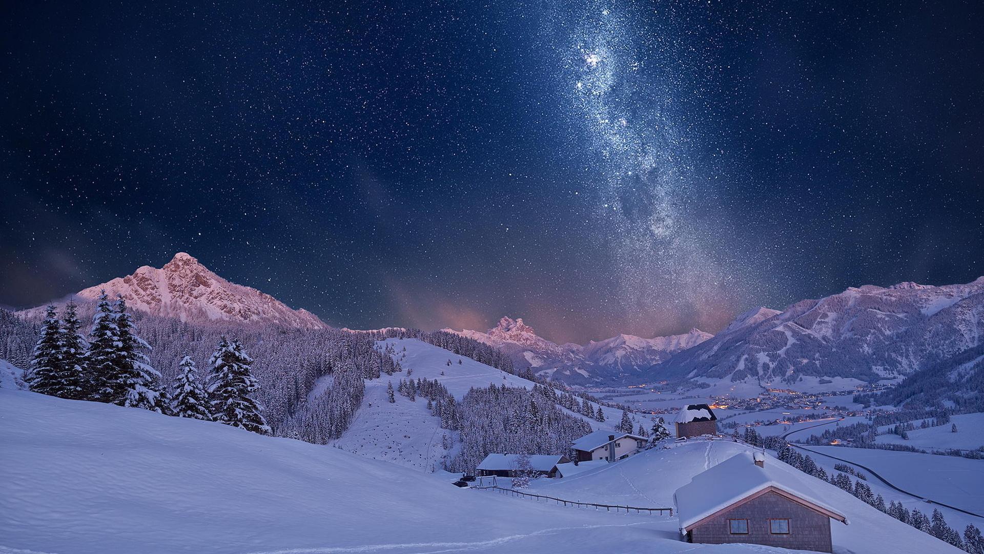 Milky Way Sky Over Winter Village Hd Wallpaper