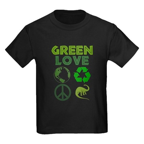Green Love - Dino 1 Kids Dark T's