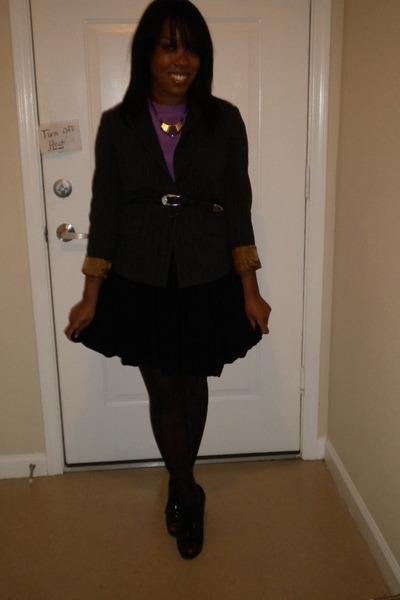 black stripped blouse Parallel blazer - black Fioni shoes