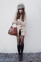 black tights - black socks - black shoes - beige cardigan - gray bag - hat