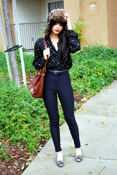 black American Apparel pants - brown Faux fur hat - black vintage blouse - gray