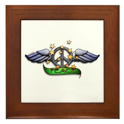 Peace Sign Tattoo Art Framed Tile. Made by Scarebaby Design
