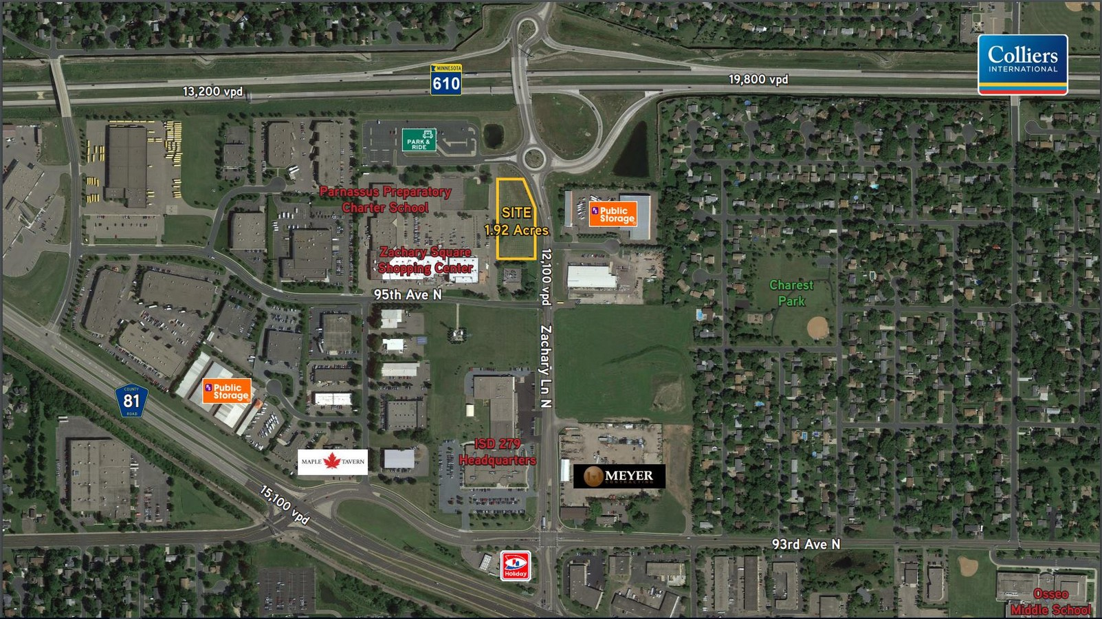 9519 Zachary Ln N  Maple Grove  MN  55369   Commercial Property For     Maple Grove Land   Retail Aerial
