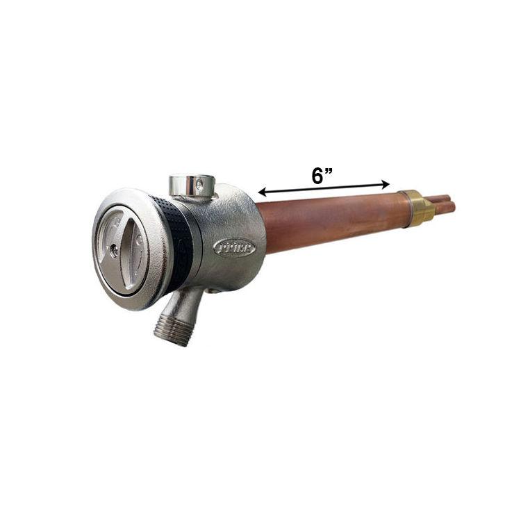 prier truetemp 6 single handle hot cold hydrant satin nickel copper p 118l06