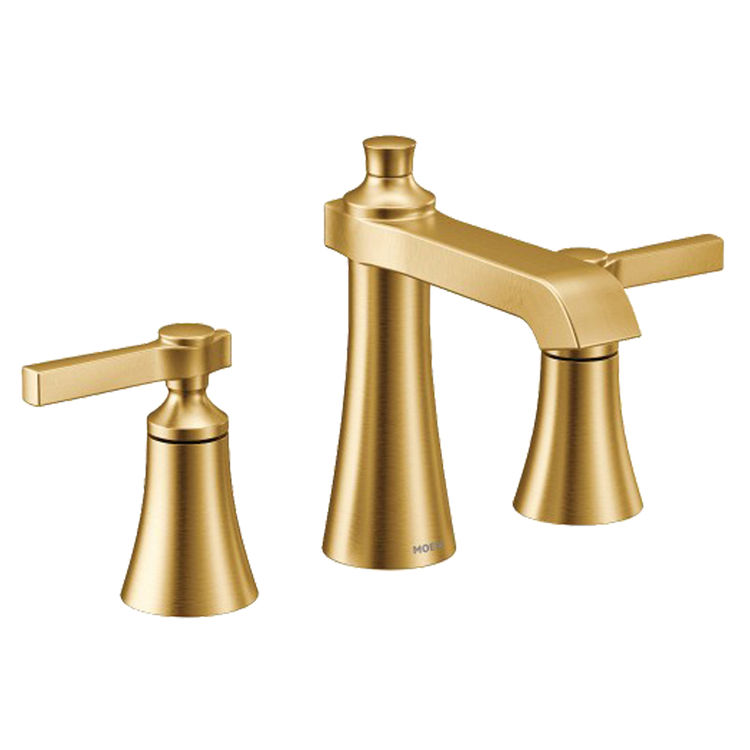 moen ts6984bg flara two handle widespread lavatory faucet 1 2 gpm brushed gold