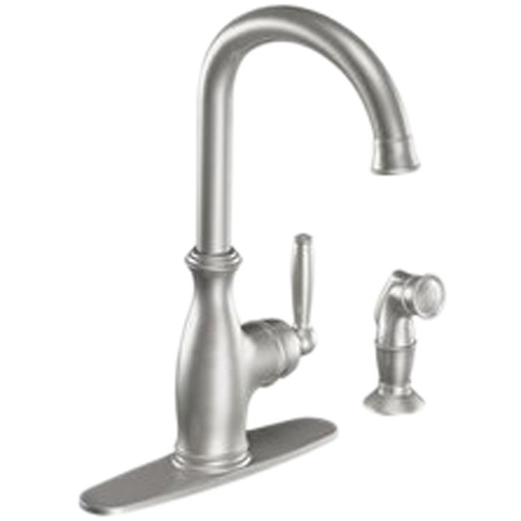 moen 7735csl brantford single handle high arc kitchen faucet w side spray classic stainless
