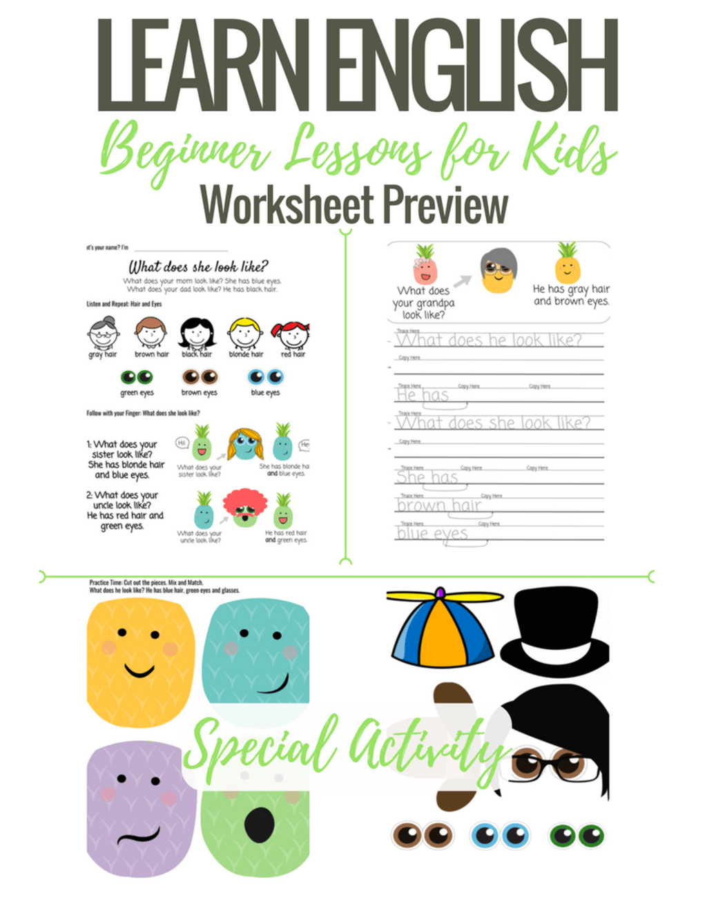 Beginner English Worksheets For Kids What Does She Look Like