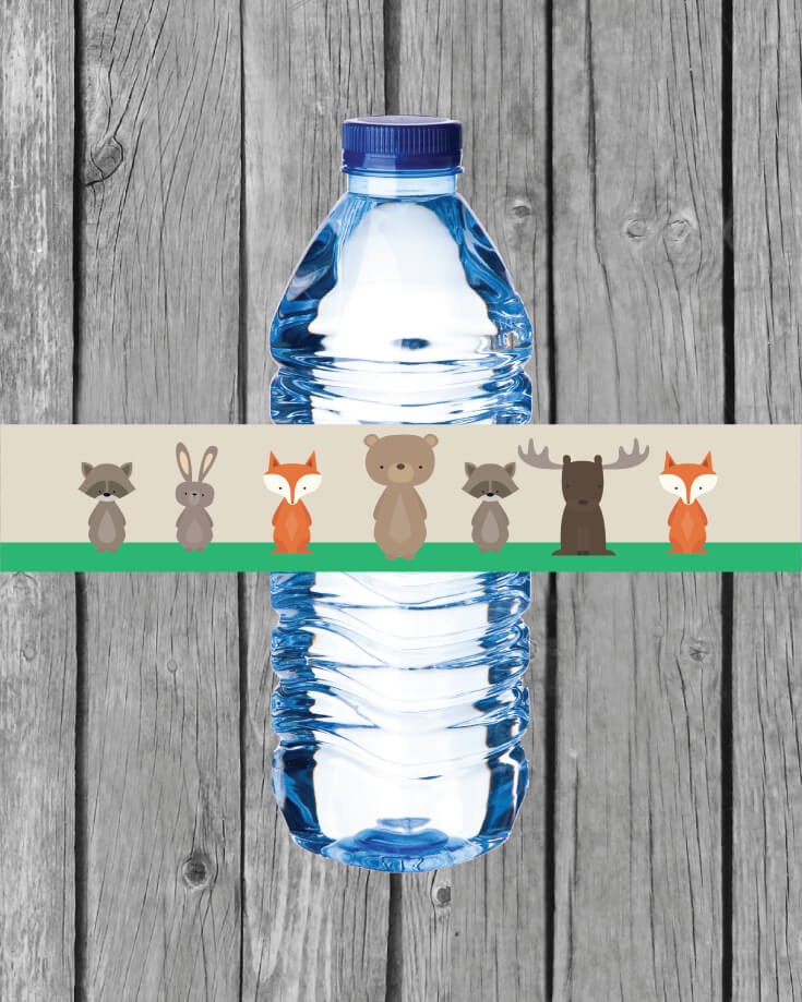 Printable Woodland Animals Water Bottle Labels Print It Baby