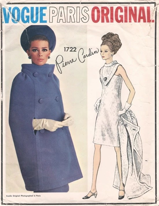 Mod 1960s cape pattern: Vogue 1722 by Pierre Cardin