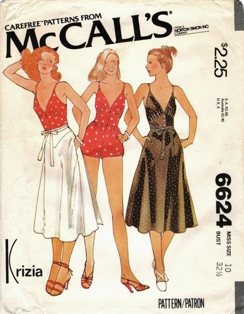 1970s Krizia playsuit and skirt pattern - McCall's 6624 - Carefree patterns