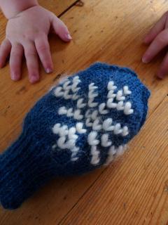 Thrummed mittens for a toddler